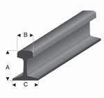 Rail profiel A=2,4mm  B=1,35mm  C=2,10mm HO